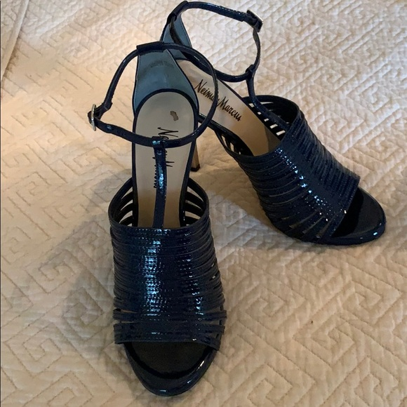 Navy Blue Patent Leather Sandals